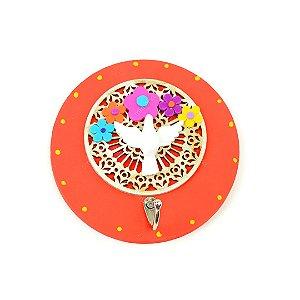 Placa Redonda Mandala Vermelha Divino com Gancho