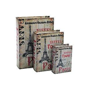Conjunto 3 Livros Caixa Decorativos Torre Eiffel