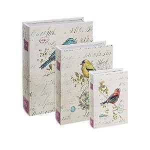 Conjunto 3 Livros Caixa Decorativos Pássaros Vintage