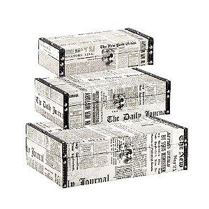 Conjunto 3 Caixas com Fecho Jornal