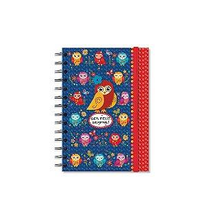 Caderno Médio Decorado Corujinhas Coloridas