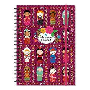 Caderno Universitário Decorado Nós Somos o Mundo 100 folhas