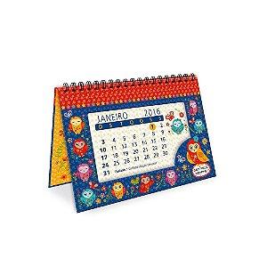 Calendário de Mesa Decorado Corujinhas Coloridas 2016