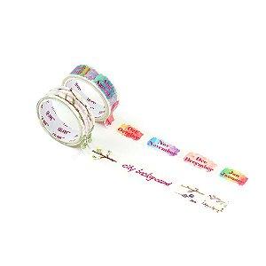 Kit 2 Fitas Adesivas Washi Tape Decorada Words 2