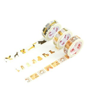 Kit 3 Fitas Adesivas Washi Tape Decorada Dogs 4
