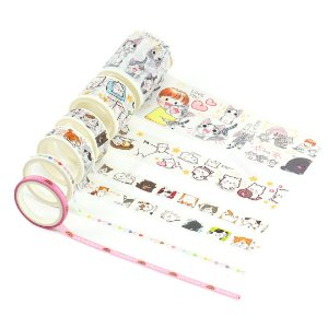 Kit 6 Fitas Adesivas Washi Tape Decorada Cats