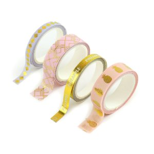 Kit 4 Fitas Adesivas Washi Tape Decorada Abacaxi Dourado