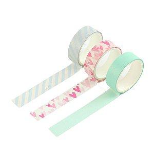 Kit 3 Fitas Adesivas Washi Tape Decoradas Coloridas Pastel Sortidas 1