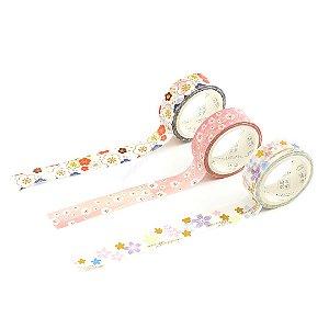 Kit 3 Fitas Adesivas Washi Tape Decorada Sakura 4