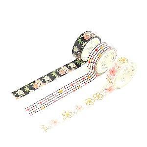 Kit 3 Fitas Adesivas Washi Tape Decorada Sakura 2