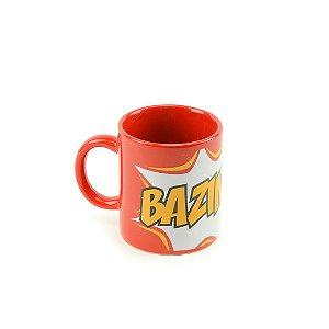 Mini Caneca de Porcelana Big Bang Theory Bazinga Vermelha