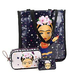 Kit Bolsa Sacola Bag Frida Kahlo Fridinha e Necessaires