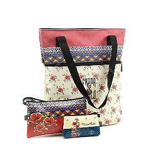 Kit Bolsa Sacola Bag Frida Kahlo e Necessaires
