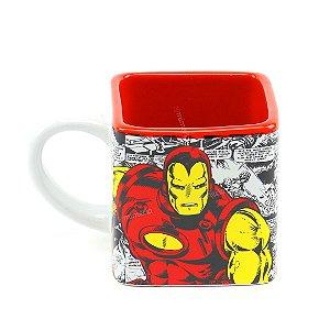 Caneca Cubo de Cerâmica Decorativa Iron Man