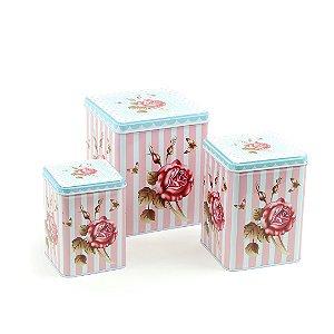 Kit 3 Latas Retangulares Floral Listrada Rosa