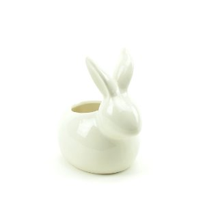 Cachepô de Cerâmica Coelho Branco