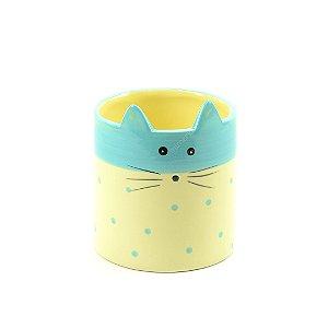 Cachepô de Cerâmica Gato Azul