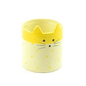Cachepô de Cerâmica Gato Amarelo