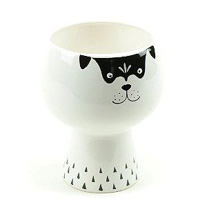 Vaso Floreira de Cerâmica Cachorro Branco e Preto