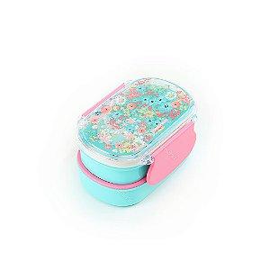 Marmita Lunch Box 2 Compartimentos com Divisória Floral