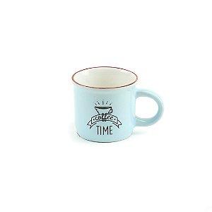 Caneca Vintage Coffee Time 70 ml Azul