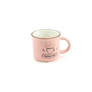 Caneca Vintage Coffee Time 70 ml Rosa