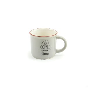 Caneca Vintage Coffee Time 70 ml Cinza