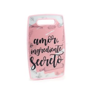 Tábua de Corte Plástico Ingrediente Secreto Rosa