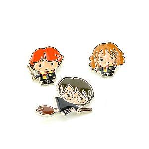 Kit 3 Broches Harry Potter e Amigos
