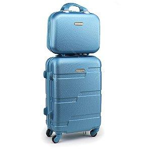 Kit Mala de Viagem com Rodinhas e Frasqueira Dream Azul Celeste