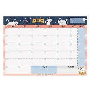 Bloco Planner de Mesa Mensal Cats