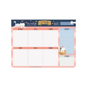 Bloco Planner Minha Semana Cats