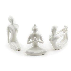 Kit Esculturas em Porcelana Yoga Branco