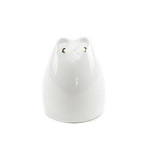 Gato Decorativo em Cerâmica Branco Pequeno