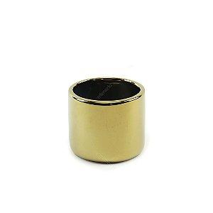 Cachepô em Cerâmica Redondo Dourado