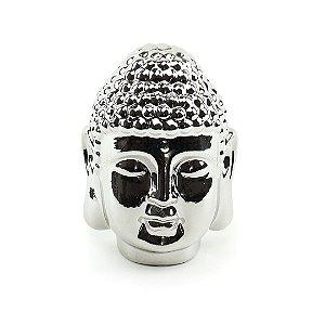 Cabeça de Buda Decorativo em Cerâmica Prata