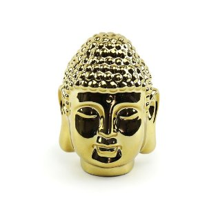 Cabeça de Buda Decorativo em Cerâmica Dourada