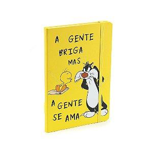 Caderno Médio com Elástico Looney Tunes Piu-Piu e Frajola
