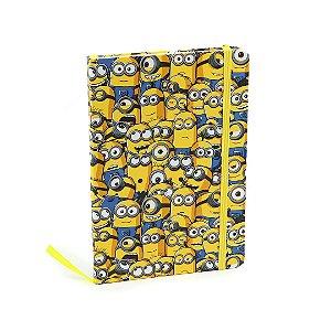 Caderno Médio com Elástico Minions Colorido