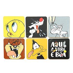 Conjunto 6 Porta Copos de Cortiça Looney Tunes