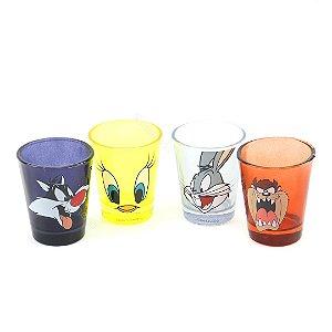 Kit Copos de Dose Looney Tunes Personagens Colorido