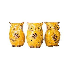 Corujas em Cerâmica Cega Surda Muda Amarelas