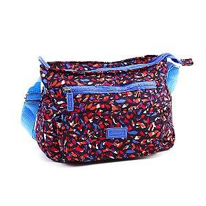 Bolsa Tiracolo Estampada em Nylon Formas Coloridas