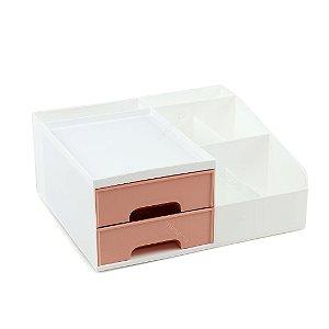 Organizador Multiuso com 2 Gavetas Pequeno Branco e Rosa