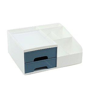Organizador Multiuso com 2 Gavetas Pequeno Branco e Azul