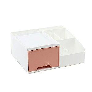 Organizador Multiuso com 1 Gaveta Pequeno Branco e Rosa
