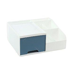 Organizador Multiuso com 1 Gaveta Pequeno Branco e Azul