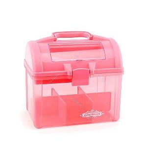 Caixa Maleta Organizadora Rosa Translúcida