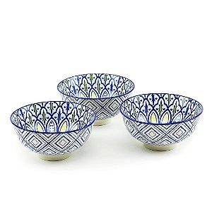 Conjunto de 3 Bowls de Cerâmica Azul e Amarelo