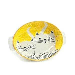 Tigela de Cerâmica Redonda com Alça Estampada Gatos Amarela Pequena